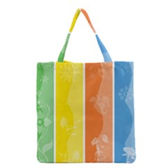 Floral Colorful Seasonal Banners Grocery Tote Bag by BangZart