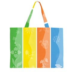 Floral Colorful Seasonal Banners Zipper Large Tote Bag by BangZart