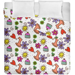 Cute Doodle Wallpaper Pattern Duvet Cover Double Side (king Size) by BangZart