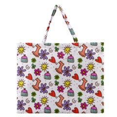 Cute Doodle Wallpaper Pattern Zipper Large Tote Bag by BangZart