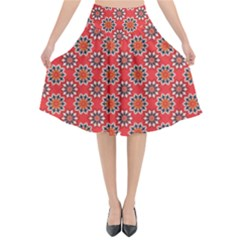 Floral Seamless Pattern Vector Flared Midi Skirt