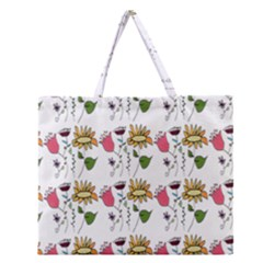 Handmade Pattern With Crazy Flowers Zipper Large Tote Bag by BangZart