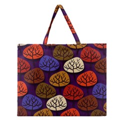 Colorful Trees Background Pattern Zipper Large Tote Bag by BangZart