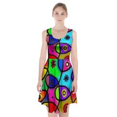 Digitally Painted Colourful Abstract Whimsical Shape Pattern Racerback Midi Dress by BangZart