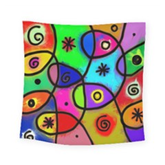 Digitally Painted Colourful Abstract Whimsical Shape Pattern Square Tapestry (small) by BangZart