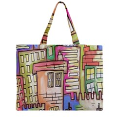 A Village Drawn In A Doodle Style Medium Tote Bag by BangZart
