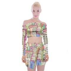 A Village Drawn In A Doodle Style Off Shoulder Top with Skirt Set