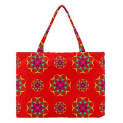 Rainbow Colors Geometric Circles Seamless Pattern On Red Background Medium Tote Bag by BangZart