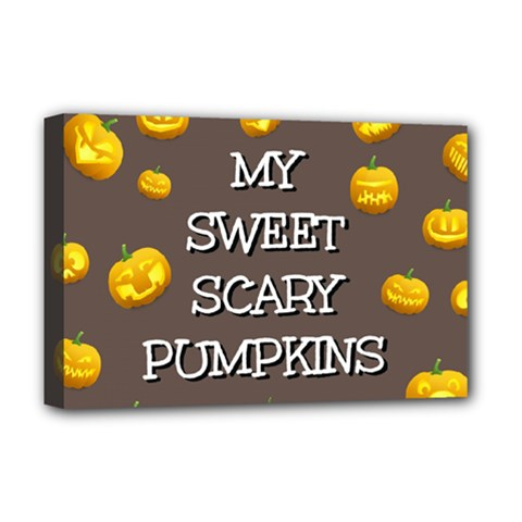 Hallowen My Sweet Scary Pumkins Deluxe Canvas 18  X 12   by BangZart