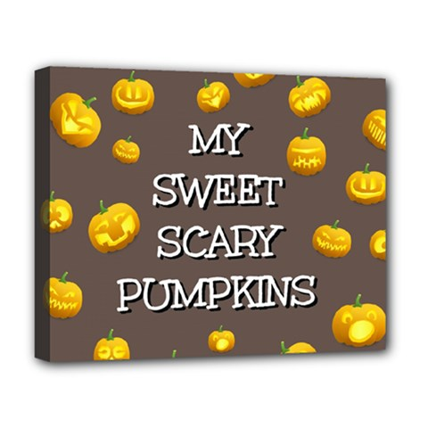 Hallowen My Sweet Scary Pumkins Deluxe Canvas 20  X 16   by BangZart