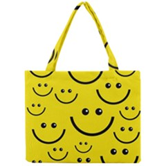 Digitally Created Yellow Happy Smile  Face Wallpaper Mini Tote Bag by BangZart