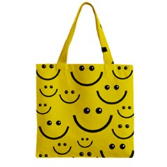 Digitally Created Yellow Happy Smile  Face Wallpaper Zipper Grocery Tote Bag by BangZart