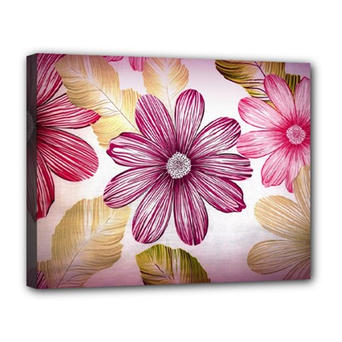 Flower Print Fabric Pattern Texture Canvas 14  X 11  by BangZart