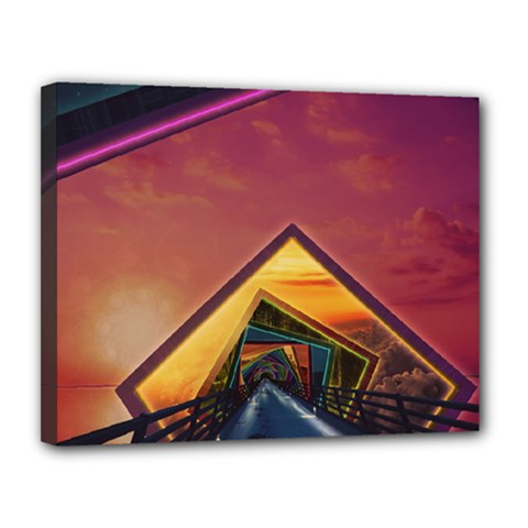 The Rainbow Bridge Of A Thousand Fractal Colors Canvas 14  X 11  by jayaprime