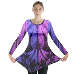 Beautiful Lilac Fractal Feathers Of The Starling Long Sleeve Tunic  by beautifulfractals