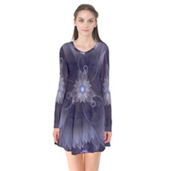 Amazing Fractal Triskelion Purple Passion Flower Flare Dress by beautifulfractals