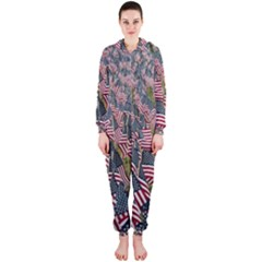 Repetition Retro Wallpaper Stripes Hooded Jumpsuit (ladies)  by BangZart