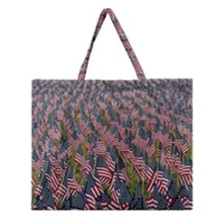 Repetition Retro Wallpaper Stripes Zipper Large Tote Bag by BangZart