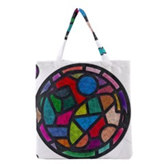 Stained Glass Color Texture Sacra Grocery Tote Bag by BangZart