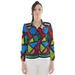 Stained Glass Color Texture Sacra Wind Breaker (women) by BangZart
