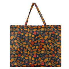 Pattern Background Ethnic Tribal Zipper Large Tote Bag by BangZart