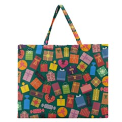 Presents Gifts Background Colorful Zipper Large Tote Bag by BangZart