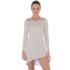 Christmas Gold Large Gingham Check Plaid Pattern Asymmetric Cut Out Shift Dress