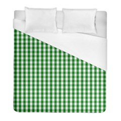 Christmas Green Velvet Large Gingham Check Plaid Pattern Duvet Cover (full/ Double Size) by PodArtist