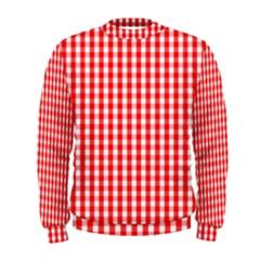 Christmas Red Velvet Large Gingham Check Plaid Pattern Men s Sweatshirt by PodArtist