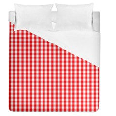 Christmas Red Velvet Large Gingham Check Plaid Pattern Duvet Cover (queen Size) by PodArtist