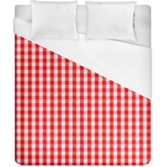 Christmas Red Velvet Large Gingham Check Plaid Pattern Duvet Cover (california King Size) by PodArtist