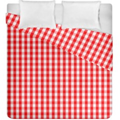 Christmas Red Velvet Large Gingham Check Plaid Pattern Duvet Cover Double Side (king Size) by PodArtist