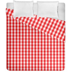 Christmas Red Velvet Large Gingham Check Plaid Pattern Duvet Cover Double Side (california King Size) by PodArtist