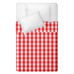 Christmas Red Velvet Large Gingham Check Plaid Pattern Duvet Cover Double Side (single Size) by PodArtist