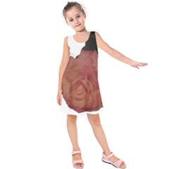 Poppys Last Rose Close Up Kids  Sleeveless Dress by TailWags