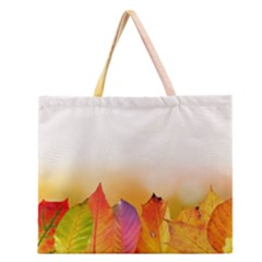 Autumn Leaves Colorful Fall Foliage Zipper Large Tote Bag by BangZart