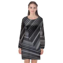 Paper Low Key A4 Studio Lines Long Sleeve Chiffon Shift Dress