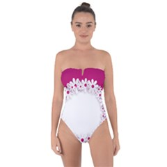 Photo Frame Transparent Background Tie Back One Piece Swimsuit