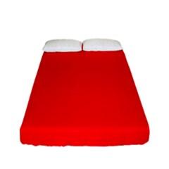Solid Christmas Red Velvet Fitted Sheet (full/ Double Size) by PodArtist