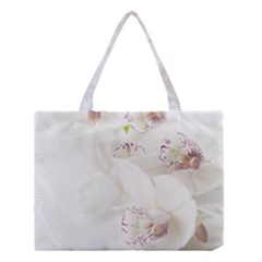 Orchids Flowers White Background Medium Tote Bag by BangZart