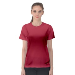 Usa Flag Red Blood Red Classic Solid Color  Women s Sport Mesh Tee by PodArtist