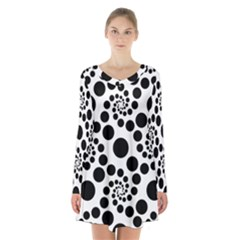 Dot Dots Round Black And White Long Sleeve Velvet V-neck Dress