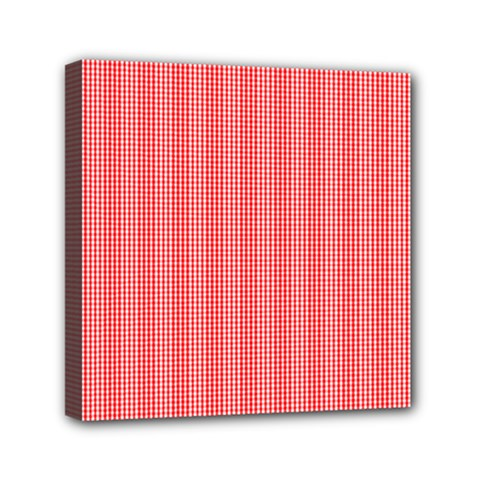 Christmas Red Velvet Mini Gingham Check Plaid Mini Canvas 6  X 6  by PodArtist