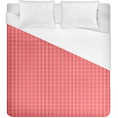 Christmas Red Velvet Mini Gingham Check Plaid Duvet Cover (king Size) by PodArtist