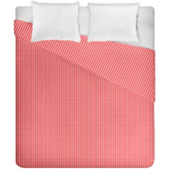 Christmas Red Velvet Mini Gingham Check Plaid Duvet Cover Double Side (california King Size) by PodArtist