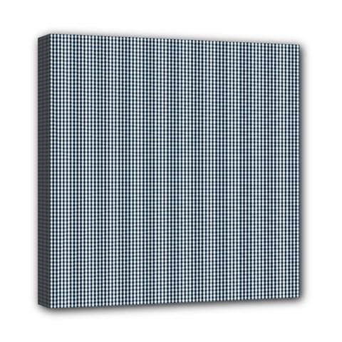 Silent Night Blue Mini Gingham Check Plaid Mini Canvas 8  X 8  by PodArtist