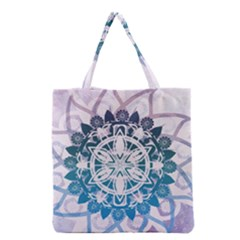 Mandalas Symmetry Meditation Round Grocery Tote Bag by BangZart
