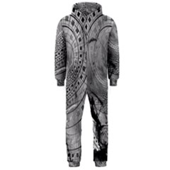 Fragmented Fractal Memories And Gunpowder Glass Hooded Jumpsuit (men)  by beautifulfractals