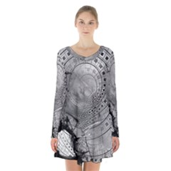Fragmented Fractal Memories and Gunpowder Glass Long Sleeve Velvet V-neck Dress