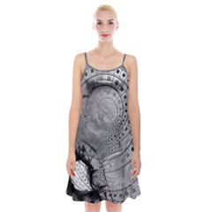 Fragmented Fractal Memories And Gunpowder Glass Spaghetti Strap Velvet Dress by beautifulfractals